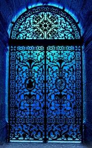 blue grillwork door
