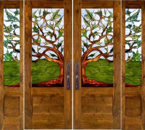 stained glass doors tree